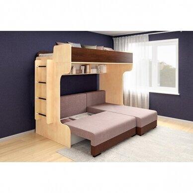 Kampinė dviejų aukštų lova ELIZA GOLD (su čiužiniu) 4